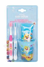 Pinkfong Baby Shark, rinkinys dantų šepetėlis vaikams, (Tooth Brush 2 pcs + Tooth Paste 75 ml + Toothbrush Cup)