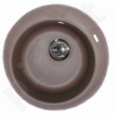 Granitinė plautuvė ROUND 1 coffe brown SU SIFONU