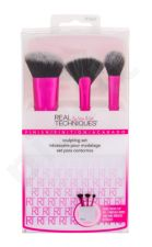 Real Techniques Sculpting, Brushes, rinkinys šepetėlis moterims, (Brush for Contouring 1 pc + kompaktinė pudra Brush 1 pc + Frond Brush 1 pc + Stand for Brush 1 pc)