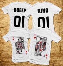 """Marškinėlių komplektas """"King & Queen"""" su spauda iš priekio ir iš galo"""