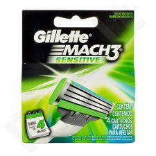 Gillette Mach3, Sensitive, skutimosi peiliukų galvutės vyrams, 4pc