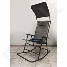 Siūbuojanti kėdė su stogeliu ir pledu