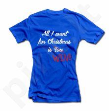 "Moteriški marškinėliai ""All I want for Christmas is WINE"""