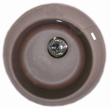 Granitinė plautuvė ROUND 2 coffee brown su sifonu
