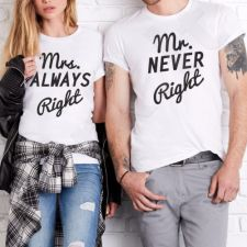 "Marškinėlių komplektas ""Mr NEVER Right & Mrs ALWAYS Right"""