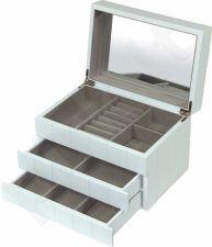 Papuošalų dėžutė 95996 medinė balta su stalčiais ir veidrodėliu 16x24x16 cm