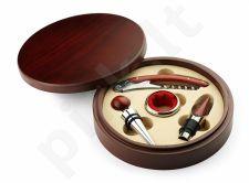Vyno įrankių rinkinys apvalioje dėžutėje su Jūsų graviruotu tekstu