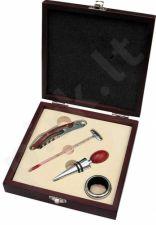 Vyno įrankių rinkinys kvadratinėje dėžutėje su Jūsų graviruotu tekstu