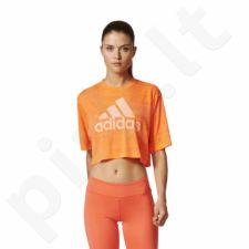 Marškinėliai treniruotėms adidas Boxy Crop Tee Aeroknit W BP8188