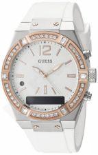 GUESS laikrodis Crystal 41mm silikonine apyrankė baltas